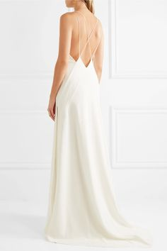 Ivory silk crepe de chine Slips on 100% silk Dry cleanLarge to size. See Size & Fit notes.
