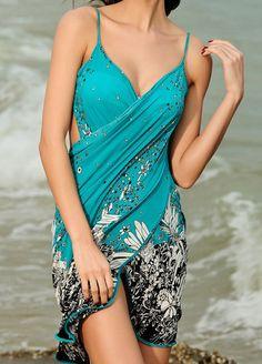 Turquoise Spaghetti Strap Floral Beach Dress -SheIn(Sheinside) Mobile Site