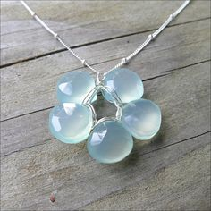 Handmade Flower Necklace  Aqua Chalcedony by CamileeDesigns, $38.00