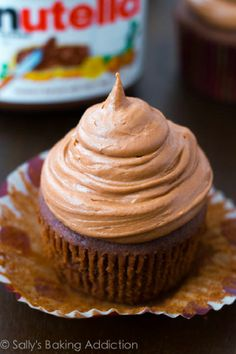 Chocolate Cupcakes with Creamy Nutella Frosting.