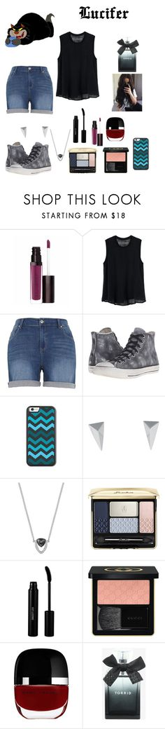 """""""Summer Style : Lucifer"""" by dawndreader ❤ liked on Polyvore featuring Laura Mercier, Disney, Enza Costa, Melissa McCarthy Seven7, Converse, Alexis Bittar, duty free, Guerlain, Sigma Beauty and Gucci"""