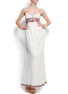 Mango Women's Embroidered Cotton Maxi-dress