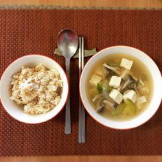 Korean bean paste soup with brown rice