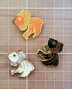 Sad Fish Hard Enamel Pin Gold and Black by Ohjessicajessica