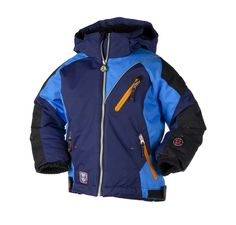 """This Obermeyer boys ski jacket comes from their """"OBX"""" collection. $77.70 You Save 40% Click on this link for more technical information: http://www.kidskiandrain.com/navy-super-g.html"""