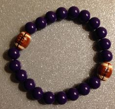 Ceramic Purple and Football Beads