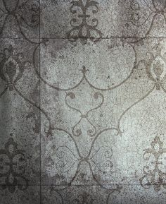 Rococo Mirror Wallpaper Silver wallpaper imitating antique mirror with crackle effect and shadow of rococo design