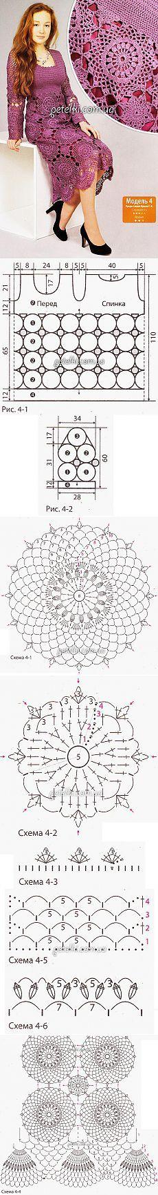Rochii elegante de motive rotunde.  Descriere Scheme de tricotat