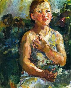 Oskar Kokoschka - A Girl with Flowers