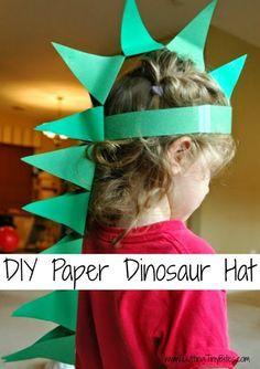 Dinosaurio de papel DIY sombrero.  Artesanía para preescolares o más niños.