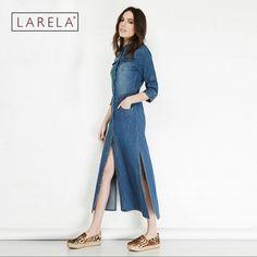 2016 New Women Denim Dresses Spring Summer Casual Vintage Slim Single Button Hem Slits Pockets Long Denim Dress Women RE188 -- Click on the image for additional details.