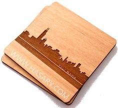 Chicago Skyline - Regular, Laser Cut Wood Coasters