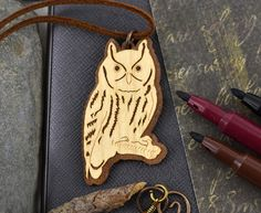 Wood Owl Necklace Laser Cut Walnut  Wood Pendant Wooden Owl Jewelry Unique gifts for men gift for husband birthday gift for boyfriend gift by ArtCopperWood on Etsy