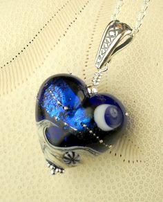 Handmade Crescent Moon Lampwork Bead Jewelry Wave In The Ocean Heart. $48.00, via Etsy.