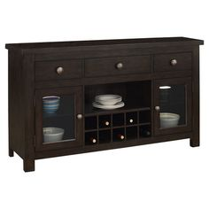 Three-drawer buffet in dark brown with two doors and an open center shelf. Includes a built-in wine rack.   Product: Buffet...