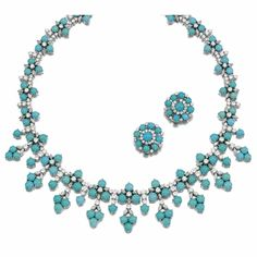 TURQUOISE AND DIAMOND DEMI-PARURE, 1960s - Sotheby's