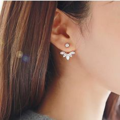 Sterling Silver Brass Alloy mix Pentagon Diamante  Ear Jacket. S925 Diamante ear jacket. Pentagon Diamante Earrings. Diamante Earpiece.