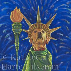 """Yellow Lab Art Lady Liberty 16x16 Framed Print by MaddieLabStudio, $95.00 """"It's not the 4th of July without a Lab."""""""