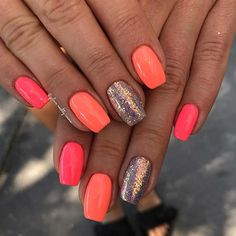 43 Neon Nail Designs That Are Perfect for Summer Simple Pink, Orange and Glitter Neon Nails Cute Acrylic Nails, Glitter Nails, Cute Nails, Neon Coral Nails, Diy Neon Nails, Neon Nail Art, Pink Nail Art, Gradient Nails, Uñas Color Coral
