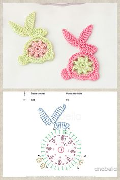 A last minute DIY crochet Easter bunny to decorate your table for Easter or as tags to decorate your Easter gifts for your loved ones! Easter Crochet Patterns, Crochet Square Patterns, Crochet Motifs, Crochet Designs, Crochet Butterfly, Crochet Bunny, Crochet Flowers, Crochet Amigurumi, Crochet Toys