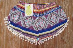 Pom Pom Shorts  Bright Aztec Print  Gym/Beach by ljcdesignss, $29.00