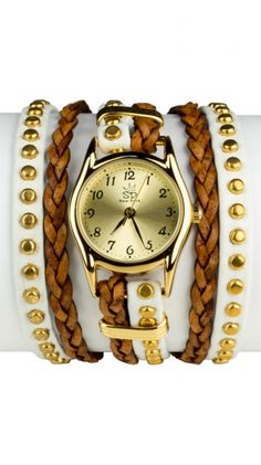 Studded Leather Wrap Watch - White by Sara Designs