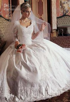 Long Sleeve Wedding Dress catholic wedding gowns - modest gowns are hard to find. Wedding Gowns With Sleeves, White Wedding Gowns, Long Sleeve Wedding, Modest Wedding Dresses, Bridal Dresses, Dresses With Sleeves, Gown Wedding, Lace Wedding, Lace Sleeves
