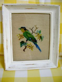 Framed Vintage Needlepoint Bird by QuiltAttic on Etsy, $34.00