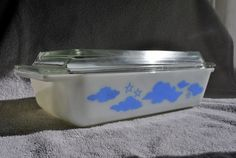 rare vintage pyrex blue clouds and stars