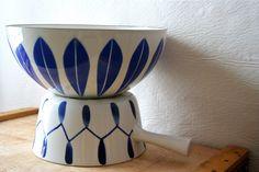Vintage Cathrineholm Norway Lotus Ware Bowl Blue on White Greta Prytz Kittelsen Catherineholm. $125.00, via Etsy.