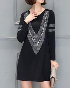 CW73271 Spring loose T-back long sleeve Korean style dress