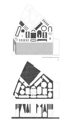 Plan, Section, Axo_Edoardo Cappella, Vittorio Cassabgi, Marco Petrangeli_Unversità La Sapienza__Competition