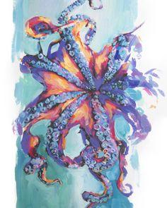 "Octopus by @lindsayrapp 14"" x 9.5"" oil..."