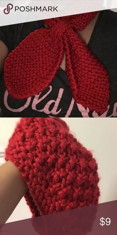 Red knitted hat and scarf This is perfect for when it's chilly! I am selling this as a set, it is a matching knitted hat and bow tied scarf. Perfect for women. Or girls. It is in new condition without tags. Accessories Scarves & Wraps