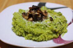 Špenátovo-hráškové rizoto s opečenými hríbikmi - Powered by @ultimaterecipe