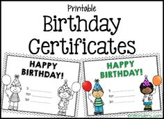 Printable Birthday Certificates