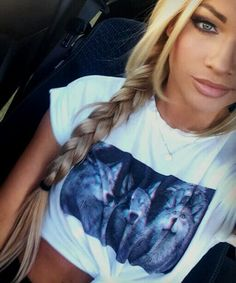 side braid dark lipliner nude lip eyebrows tied up wolf t-shirt top