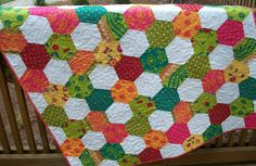Geometric Bright Hexagon Colorful Quilt
