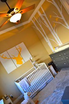 "Baby Lanes Nursery. ""Terrific Forrest"" Birch wall decal.  Elk Silhouette triptic I painted myself. Ikea furniture"