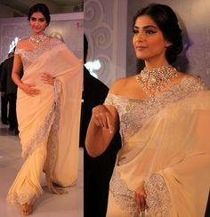 Sonam Kapoor in Suneet Verma saree wearing off shoulder blouse