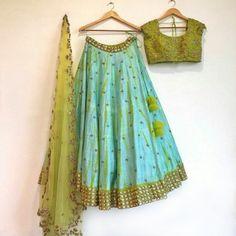 Art Silk Turquoise Embroidered Semi Stitched Lehenga - BSB01