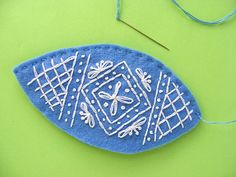 Easter craft ideas - two embroidered egg pieces stitched together