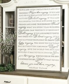 Mother Teresa Anyway Poem Wood Framed Sign by WillowHillSigns on Etsy