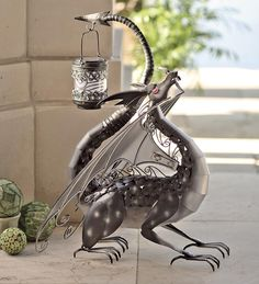 Black Dragon With Solar Light Garden Statue.... Deffinately want this statue. Wind & Weather