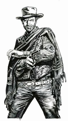 Clint Eastwood detail from 'The Good, The Bad The Ugly' screenprint by Chris Weston Clint Eastwood, Westerns, Portrait Au Crayon, Comic Art, Comic Books, Fritz Lang, Cowboy Art, Cowboy Western, Western Comics