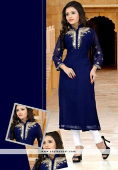 Brilliant Blue Color Georgette And Santoon fabric Party Wear Kurti
