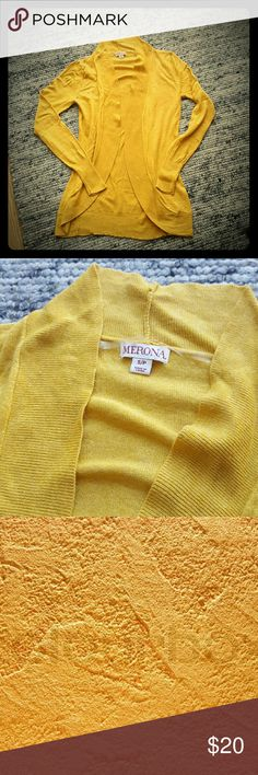 Yellow Merona Cardigan This yellow Merona cardigan has only been worn once. The color is tough to photograph it's kind of a dark/burnt yellow (like the last photo). Merona Sweaters Cardigans