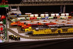 Let go of my Lego - Lined up Lego trains