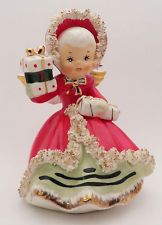Vintage Napco Ceramic Christmas Holiday Angel Figurine Gift Spaghetti Gold Trim