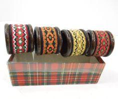 Wood Napkin Rings Set of 4 Austria Round Napkin by ReneesRetro  | vintage | napkin rings | etsy